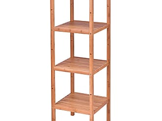 Costway 4 Tiers Multifunction Bamboo Storage Shelving Towel Rack
