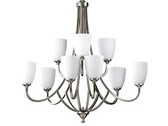 Feiss F2585/6+3BS Perry Chandelier in Brushed Steel finish with White Opal Etch Glass
