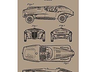 Inked and Screened SP_AUTO_202,180_KR_17_K Automobile-V.M. Exner 1965 Print, 11 x 17, Kraft-Black Ink