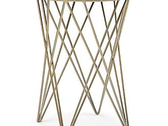 Simpli Home Simpli Home AXCSAN-01 Sandy Modern Industrial 16 inch Wide Metal Accent Side Table in White, Gold