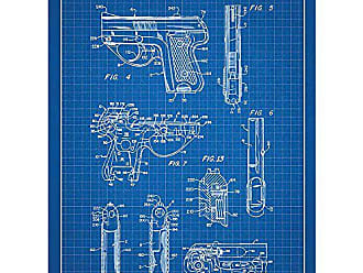 Inked and Screened SP_Milt_4,155,187_BG_24_W Military and Weaponry Walther PPK Handgun-1979 Print, 18 x 24 Blue Grid - White Ink