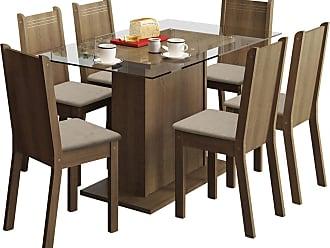 Madesa Sala De Jantar Madesa Base De Madeira Com Tampo De Vidro E 6 Cadeiras Gales - Rústico E Pérola