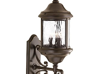 PROGRESS Ashmore Antique Bronze 3-Lt. wall lantern with Water seeded glass curved panels
