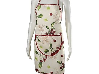 Violet Linen European Kitchen Cherries Vintage Apron, Beige