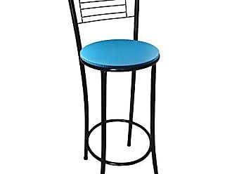 Itagold Banqueta Marilia Tubo Preto com Assento Azul - Itagold