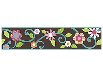 RoomMates Adesivos de Parede RoomMates Colorido Scroll Floral Peel & Stick Border - Brown e Teal