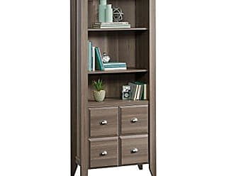 Sauder Sauder 420796 Shoal Creek Library with Doors, L: 28.43 x W: 14.49 x H: 68.86, Diamond Ash finish