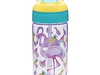 Zak designs 6821-T340 Riverside Water Bottles, 16 oz, Flamingo And Pineapple