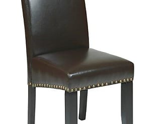Office Star OSP Designs Metro Bonded Leather Parsons Accent Dining Chair with Nail Heads, 20-inch, Espresso