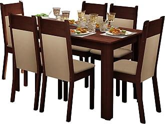 Madesa Sala de Jantar Madesa Jaine e 6 cadeiras Marrom