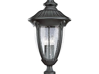 PROGRESS P5420-31 Three-light post lantern in Textured Black finish with clear seeded glass