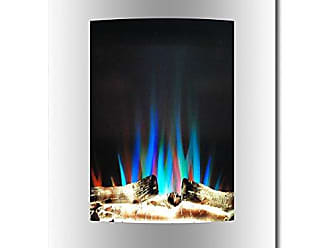 Cambridge Silversmiths CAM19VWMEF-2WHT 19.5 In. Vertical Electric Fireplace in White with Multi-Color Flame and Driftwood Log Display