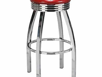 Regal Lax 26 in. Retro Backless Metal Bar Stool with Upholstered Seat Tigermoth Grey - 1115U-26-T160-CHROME-TIGERMOTH