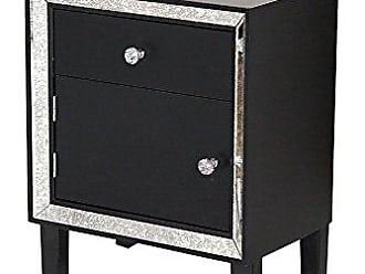 Heather Ann Creations Bon Marche Series 1 Drawer Single Door Small Space Saving Wooden Cabinet with Mirrored Trim, Black