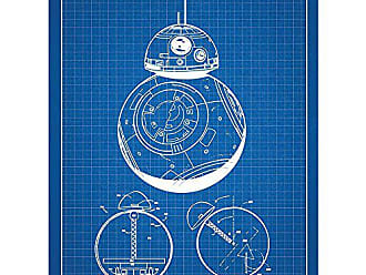 Inked and Screened Sci-Fi and Fantasy Star Wars Characters: BB-8 Print, Blue Grid - White Ink