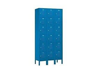 Salsbury Industries Assembled 6-Tier Box Style Standard Metal Locker with Three Wide Storage Units, 6-Feet High by 15-Inch Deep, Blue
