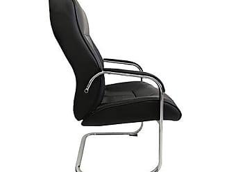Pelegrin Cadeira Interlocutor Platinum Couro PU Preta PEL-8028V - Pelegrin