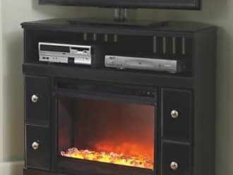 Ashley Furniture Shay 38 TV Stand with Electric Fireplace, Black
