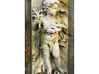 Orlandi Statuary Little Boy Autumn Plaque Outdoor Wall Art - FS6649