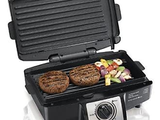 Hamilton Beach 040094253326 25332 Electric Indoor Grill with Non Stick Removable Plates, 110 Cooking Surface, 7 x 14 x 12 Inch, Black