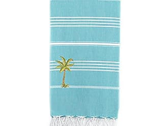 Linum Home Textiles Lucky - Palm Tree Peseta Beach Towel, Turquoise