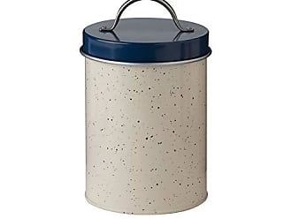 Amici Home Christopher Kimball Milk Street Metal Canister, Speckled Cream and Navy Blue Food Safe Countertop Storage Container, 45 Ounce Capacity (Small)
