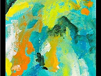 Buyartforless Buyartforless Framed Contrast of Colors II by Elizabeth Stack 18x24 Art Print Poster Abstract Colorful Painting Blue Green Yellow Orange