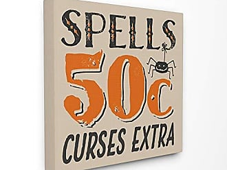 Stupell Industries The Stupell Home Décor Collection Spells for Sale Curses Extra Black and Orange Spider Typography Stretched Canvas Wall Art, 30 x 30, Multi-Color