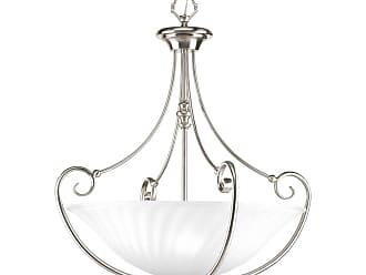 PROGRESS Kensington Brushed Nickel 3-Lt. foyer with Swirled etched glass bowl