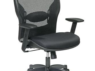 Office Star SPACE Seating Breathable Mesh Black Back and Padded Mesh Seat, 2-to-1 Synchro Tilt Control, Adjustable Arms and Lumbar Support with Gunmetal Finish Base Managers Chair