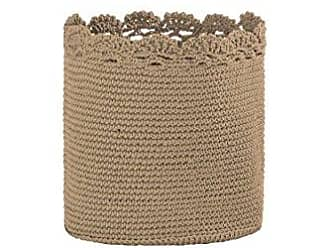 Heritage Lace Mode Crochet Basket with Trim, 8 by 8-Inch, Tan