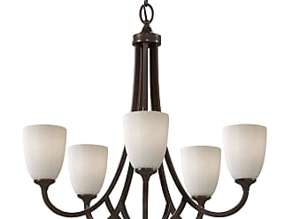 Feiss F2584/5HTBZ Perry Chandelier in Heritage Bronze finish with White Opal Etch Glass