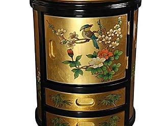 Oriental Furniture Japanese Stool - Gold Leaf