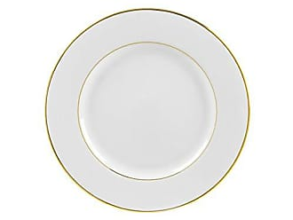 10 Strawberry Street Double Gold Line 9.125 Luncheon Plate, Set of 6, White/Gold