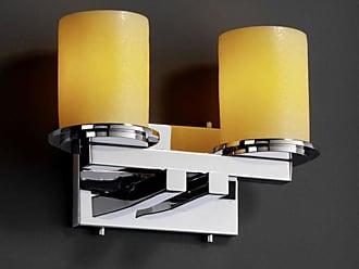 Justice Design CNDL-8772 - Dakota 2 Light Straight - Bar Bath Bar - Cylinder with Flat Rim Shade - Polished Chrome with Amber Shade - CNDL-8772-10