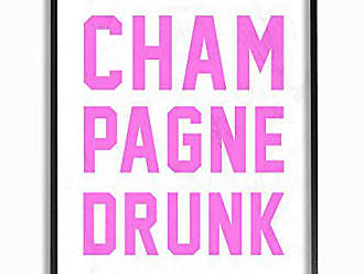 Stupell Industries Stupell Home Décor lulusimonSTUDIO Champagne Drunk Varsity Lettering Framed Giclee Texturized Art, 11 x 1.5 x 14, Proudly Made in USA