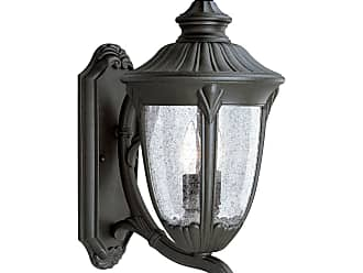 PROGRESS P5823-31 Two-light wall lantern in Textured Black finish with clear seeded glass