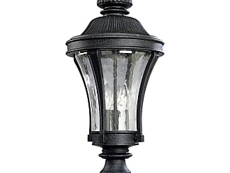 PROGRESS P5438-71 Three-light post lantern in Gilded Iron finish with water seeded glass