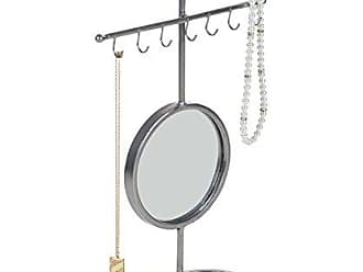 Deco 79 94609 16-Hook Iron Jewelry Holder with Mirror Accent, 15 x 11, Gray