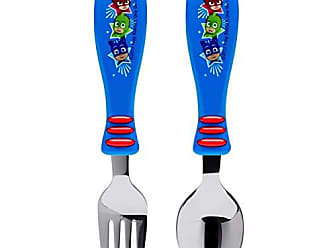Zak designs PJ Masks Easy Grip Flatware Fork And Spoon Utensil Set - Perfect for Toddler Hands With Fun Characters, Contoured Handles And Textured Grips, PJ Masks