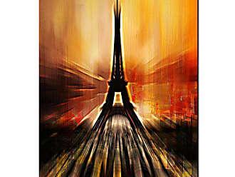 Ready2HangArt Paris Abstract Canvas Wall Art, 32 High x 24 Wide x 1 to 2 Deep, Orange/Red/Black/Yellow