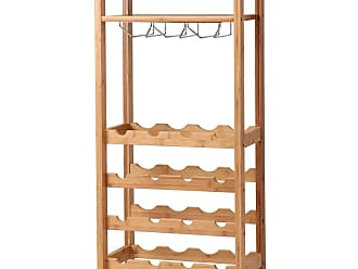 Costway 16 Bottles Bamboo Storage Wine Rack with Glass Hanger