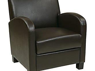 Office Star Metro Faux Leather Club Chair with Espresso Finish Legs, Espresso
