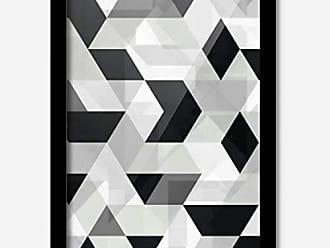 Los Quadros Quadro Decorativo Geométrico Preto Branco Mod 145 x 33 cm Los Quadros Preto