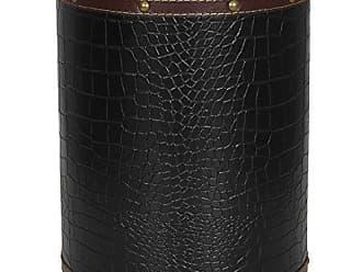 Oriental Furniture ORIENTAL Furniture Black Faux Leather Waste Basket