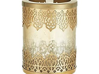 Five Queens Court Irene Crackled Glass and Metal Moroccan Toothbrush Holder, Gold, 3x3