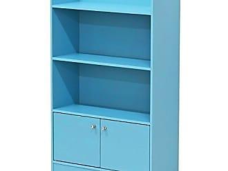 Furinno FR16121LB Stylish Kidkanac Bookshelf with Storage Cabinet, Light Blue