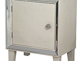 Heather Ann Creations Bon Marche Series Hand Finished 1 Door Small Space Saving Wooden Cabinet with Mirrored Trim, Antique White