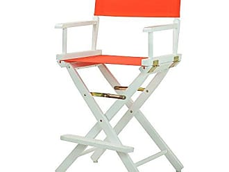 Yu Shan Casual Home 24 Directors Chair White Frame with Orange Canvas, Counter Height