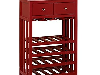 Target Marketing Systems Free Standing Wine Storage Tower Console with 2 Drawers, Red
